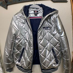Seahawks Silver Puffer Hooded Coat